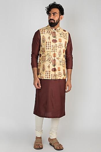 Beige Chanderi Printed Jacket by Mayank Modi