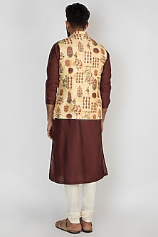 Beige Chanderi Printed Jacket by Mayank Modi