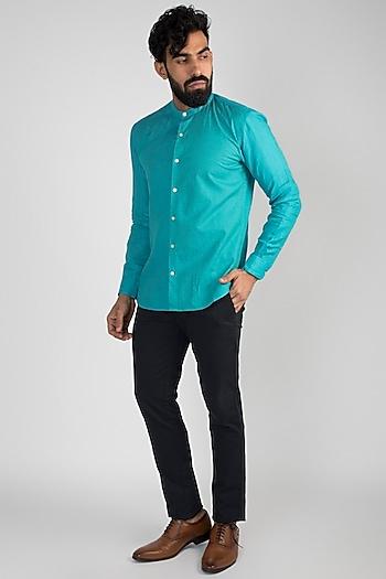 Cobalt Blue Linen Shirt by Mayank Modi