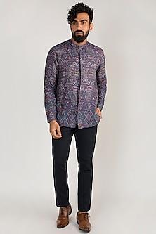 Purple Printed Linen Shirt by Mayank Modi
