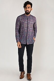 Purple Printed Linen Shirt by Mayank Modi