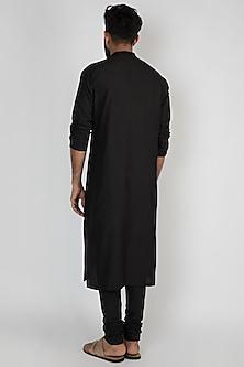 Black Printed Kurta With Churidar Pants by Mayank Modi