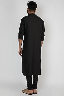 Black Printed Kurta With Churidar Pants by Mayank Modi