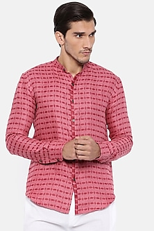 Red & Pink Shirt With Chinese Collar by Mayank Modi