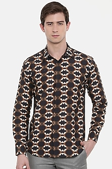 Brown Retro Printed Shirt by Mayank Modi