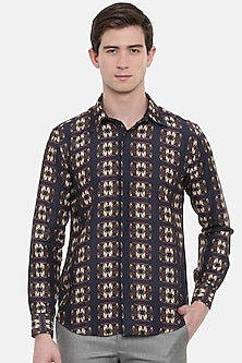 Black & Brown Printed Shirt by Mayank Modi