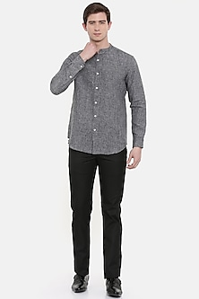 Blackish Grey Linen Shirt by Mayank Modi