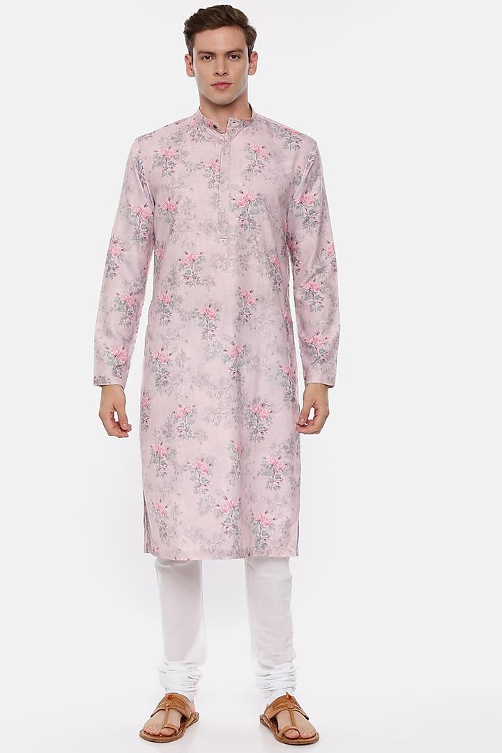 Pink Floral Printed Kurta Set by Mayank Modi