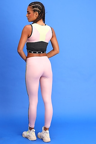 Pink Polyester Leggings by Myriad