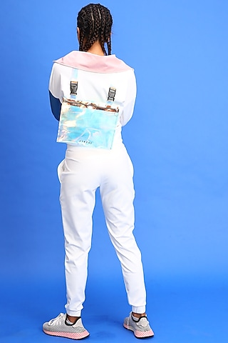 White Buckle Up Joggers by Myriad