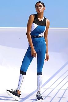 Blue Printed High-Rise Pants by Myriad