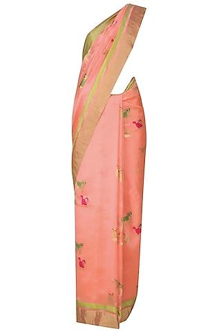 Pink Cute Cat Motifs Chanderi Saree by Madhurya