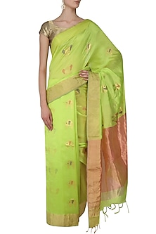 Lime Green Elephant Motifs Chanderi Saree by Madhurya