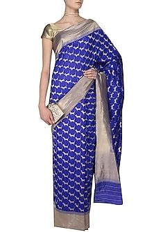 Royal Blue Cute Daschund Motifs Benarasi Saree by Madhurya
