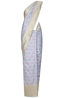 Powder Blue and Pink Flamingoes Benarasi Saree by Madhurya