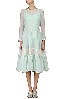 Powder Blue Polka Dot Dress with Inner by Myra by Anju Narain