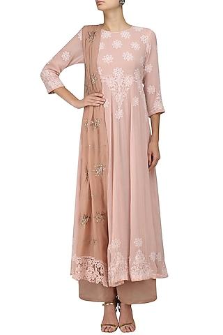 Rose Pink Chikankari Kurta and Palazzo Pants Set by Myra by Anju Narain