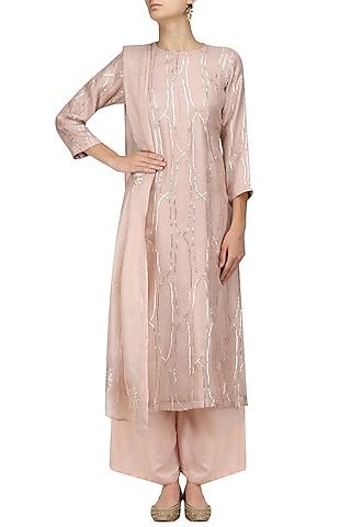 Pink Shama Design Kurta and Palazzo Pants Set by Myra by Anju Narain