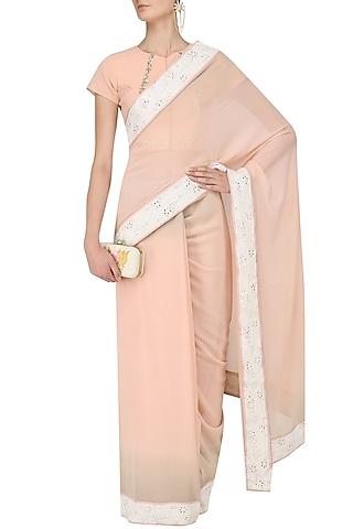 Peach Shaded Saree and Blouse Set by Myra by Anju Narain