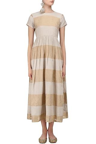Grey and Beige Striped Dress by Myra by Anju Narain