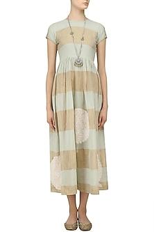 Mint Blue and Beige Chikankari Striped Dress by Myra by Anju Narain