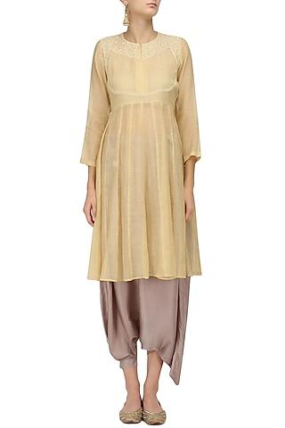 Yellow Chikankari Kurta and Pant Skirt Set by Myra by Anju Narain