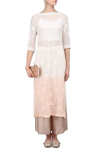 White and Peach Shaded Kurta and Palazzo Pants Set by Myra by Anju Narain