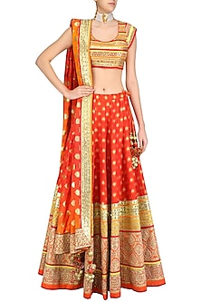 Orange and Gold Gota Patti Banarasi Brocade Lehenga Set by Mynah Designs By Reynu Tandon