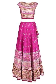 Pink and Gold Gota Patti Banarasi Brocade Lehenga Set by Mynah Designs By Reynu Tandon