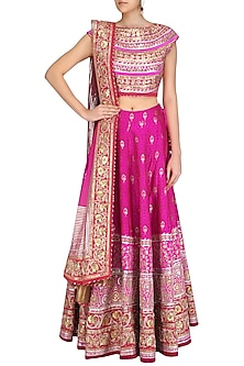 Pink and Gold Gota Patti Banarasi Brocade Lehenga Set by Mynah Designs By Reynu Tandon