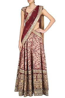 Maroon and Gold Gota Patti Banarasi Brocade Lehenga Set by Mynah Designs By Reynu Tandon