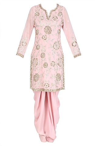 Light Pink Floral Sequins Embroidered Kurta and Dhoti Pants Set by Mynah Designs By Reynu Tandon