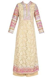 Gold Floral Gota Patti Lace Work Kurta and Pants Set by Mynah Designs By Reynu Tandon