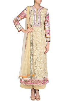 Gold Floral Gota Patti Lace Work Kurta and Pants Set by Mynah Designs By Reynu Tandon