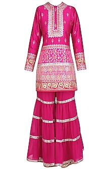 Fuschia Pink Gota Patti Banarasi Brocade Kurta and Garara Pants Set by Mynah Designs By Reynu Tandon