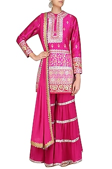 Fuschia Pink Gota Patti Banarasi Brocade Kurta and Garara Pants Set by Mynah Designs By Reynu Tandon