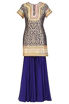 Blue and Gold Floral Banarasi Brocade Short Kurta and Sharara Pants Set by Mynah Designs By Reynu Tandon