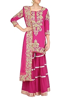 Fuschia Pink Floral Embroidered Short Kurta and Garara Pants Set by Mynah Designs By Reynu Tandon