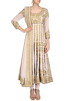 Light Pink Sequins and Thread Embroidered Kalidaar Anarkali Set by Mynah Designs By Reynu Tandon
