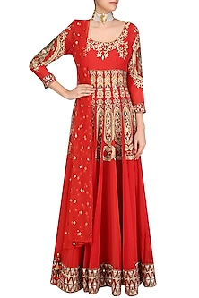 Red Gota Patti and Sequins Embroidered Flared Anarkali Set by Mynah Designs By Reynu Tandon