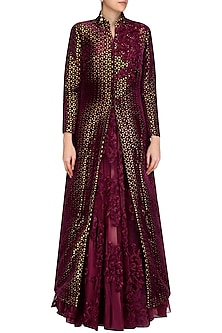 Maroon Lasercut Applique Work Gown and Jacket Set by Mynah Designs By Reynu Tandon