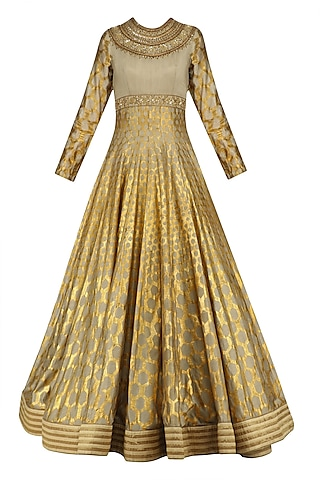 Olive Green and Gold Foil Print Anarkali Set by Mynah Designs By Reynu Tandon