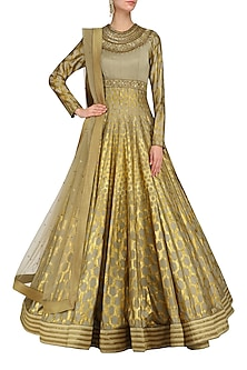 Olive Green and Gold Foil Print Anarkali Set by Mynah Designs By Reynu Tandon
