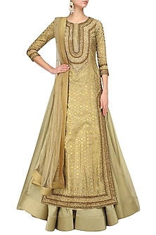 Olive green foil work kurta lehenga set by Mynah Designs By Reynu Tandon