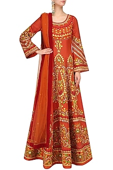 Orange Machine Embroidered Anarkali Set by Mynah Designs By Reynu Tandon