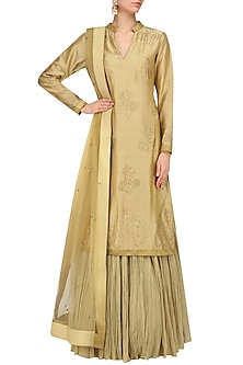 Gold Swarovski Work Kurta and Skirt Set by Mynah Designs By Reynu Tandon