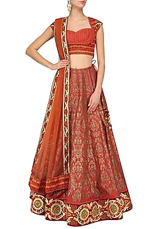 Red Block Print and Velvet Border Lehenga Set by Mynah Designs By Reynu Tandon