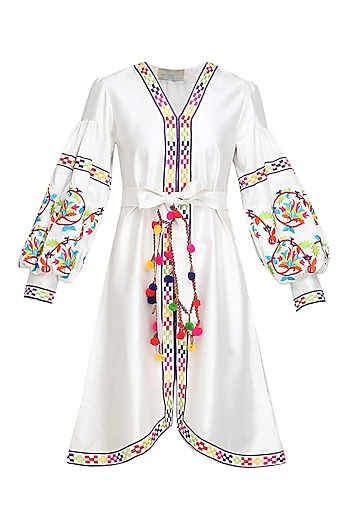 White Floral Embroidered Bell Sleeved Dress by Mynah Designs By Reynu Tandon