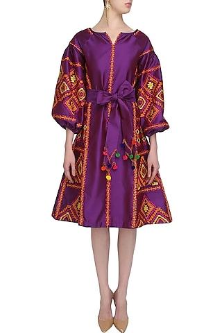 Purple Embroidered Tafta Dress by Mynah Designs By Reynu Tandon
