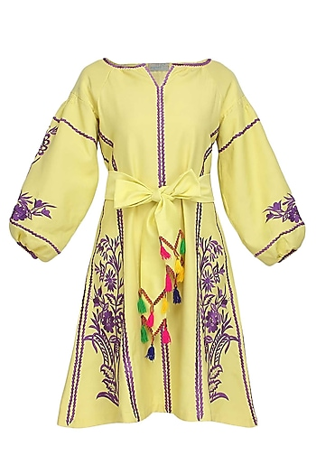 Lime Yellow Floral Embroidered Tafta Dress by Mynah Designs By Reynu Tandon